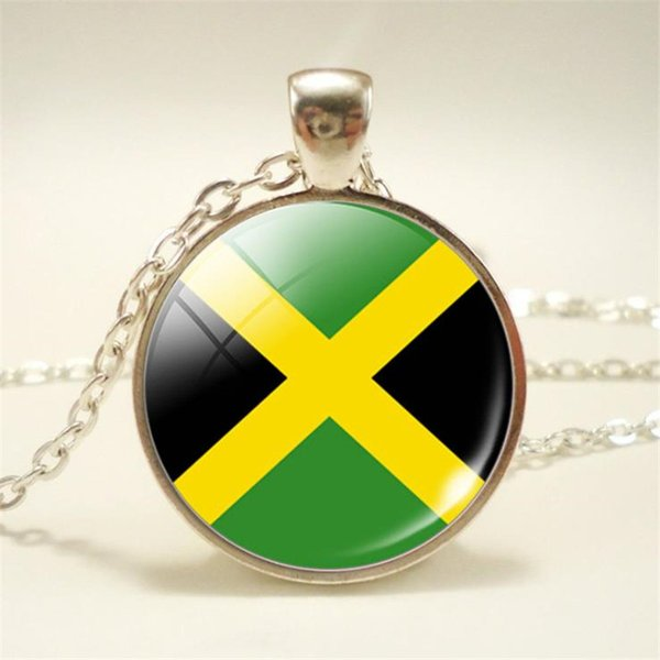 Trendy Time Gem Glass Cabochon Jamaica National Flag World Cup Football Fan Pendant Necklace For Womens Mens Chain Friendship Choker Jewelry