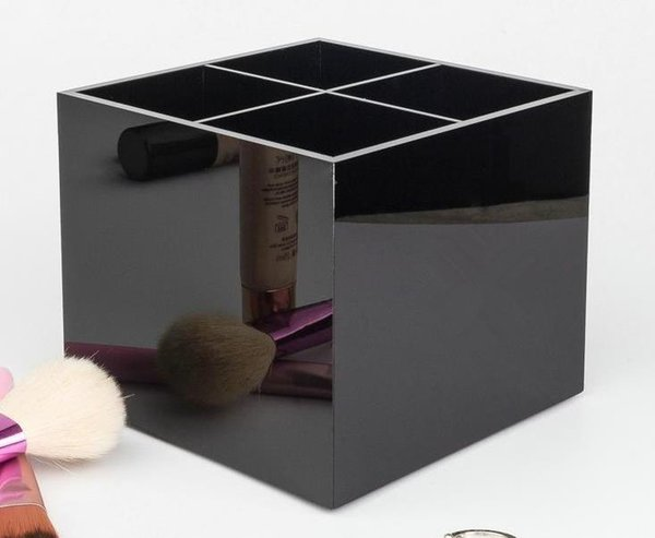 Classic Acrylic 4 gridWomen Makeup Tools Holder Cosmetic Brush Bucket Beauty Pen Storage Box Beauty Case With Gift Box