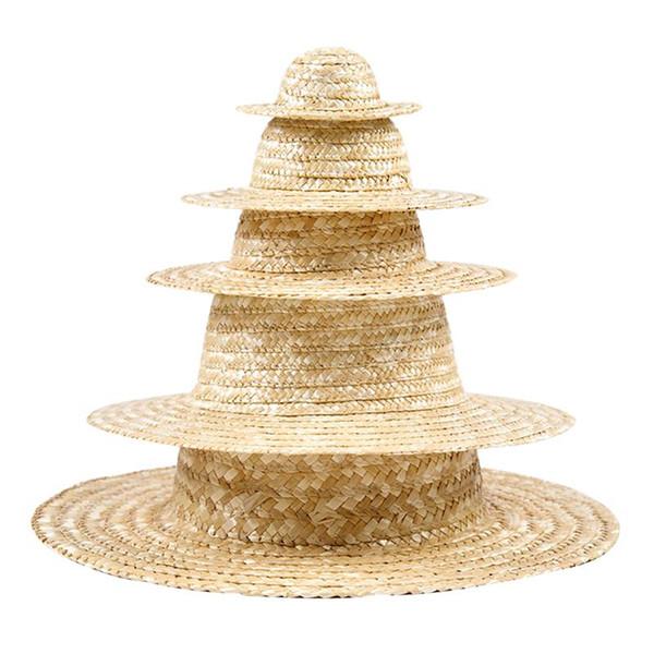 5pcs enfants Peinture chapeaux de paille Peinture créative bricolage accessoires pour Nursery maternelle Enfants (32cm 26cm 20cm 16cm 10cm 1 Chaque)