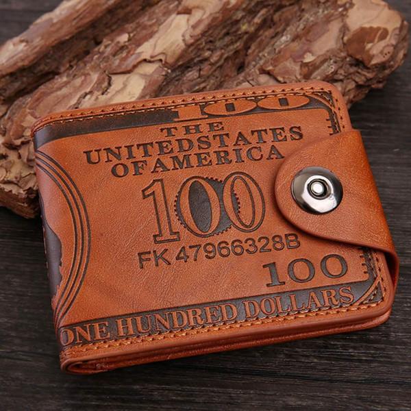 Titolare della pelle fibbia rettangolare Caffè Retro Casual Carte Classic Wallet carte magnetiche di credito di identificazione Lettera Uomo Nero