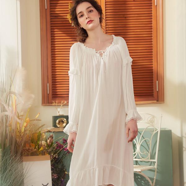 Spring Summer Women Cotton Long Nightdress Female Vintage Lace Sleepwear Sweet Princess Nightgown Soft Elegant Sleepshirts