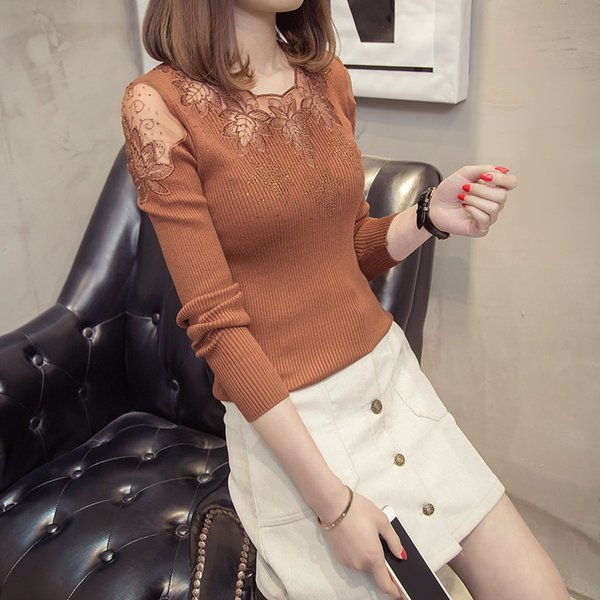1754 spring wear new lace nail drill bottom knitted sweater 39