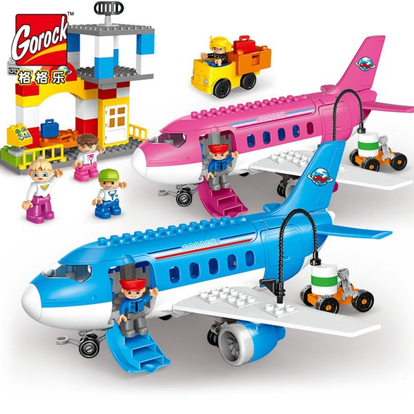 GOROCK 82pcs Large Airport Airplane city set big size building blocks legoIN figures Duplo toy bricks Baby Gift Compatible headz