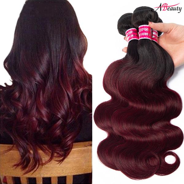 Ombre Örgü Saç Demeti Iki ton Renk 1B 99J Bordo Şarap Kırmızı Işlenmemiş Vücut dalga Brezilyalı Ombre İnsan saç