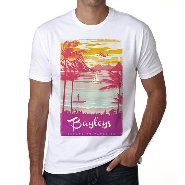 Bayleys Escape to paradise Hombre Camiseta Blanco Regalo 00281 Impression T-shirt à manches courtes pour hommes