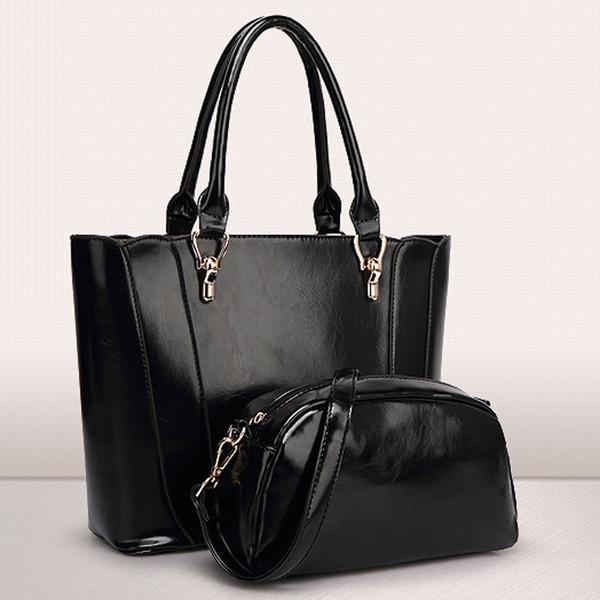 Wholesale-Lady Composite Bag Designer Handbags Women's Leather Handbags High Quality Tote Bags Large Capacity Black and Tan Color -E