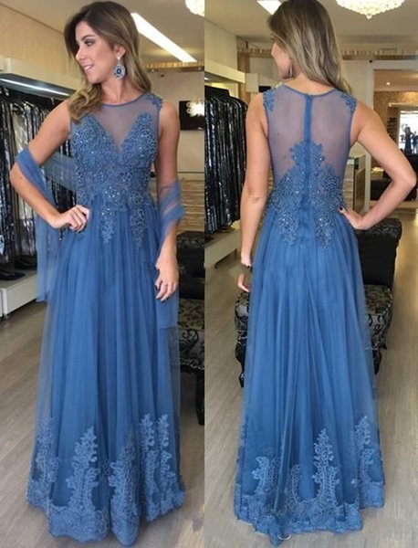 Blue Mother Of The Bride Dresses 2019 Sheer Neck Lace Appliques Beaded Evening Dress With Wrap Long Mother Dresses For Weddings
