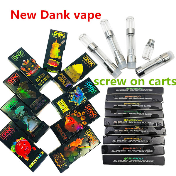 La scatola olografica delle cartucce della penna di Dank Vapes che imballa i carrelli da 0,8 ml si avvita nel filo 510 della bobina ceramica M6T con la scatola dell'ologramma di sapore