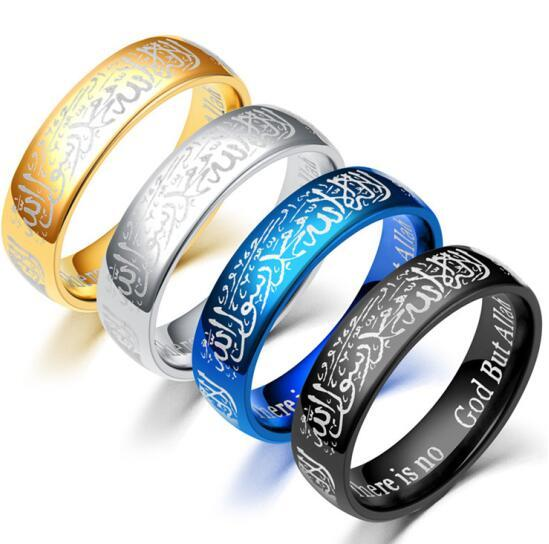 Atoztide Quran Stainless Steel Ring Islam God Messager Gold Color Middle Rings Women Men Gift msl-22222