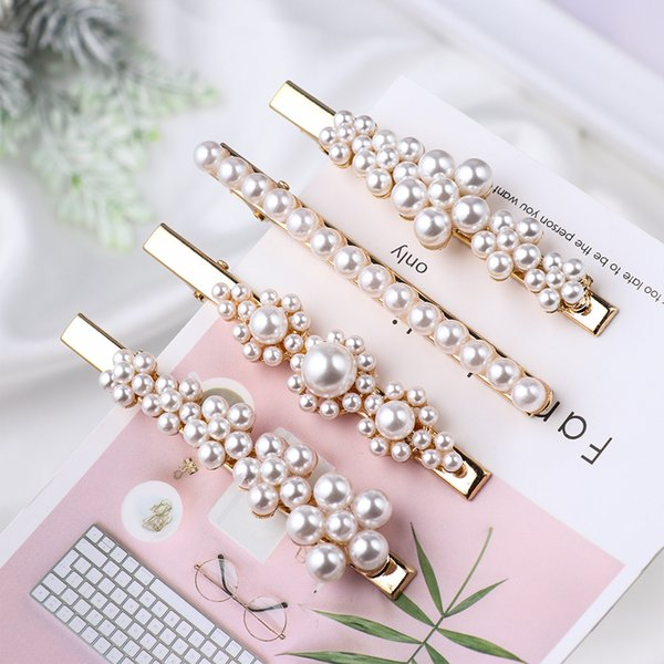 1Pcs/1 Pair Korea Pearl Flower Hairpins Vintage Barrettes Hair Clips Crystal Hair Accessories Hairgrip Headdress Jewelry Gifts