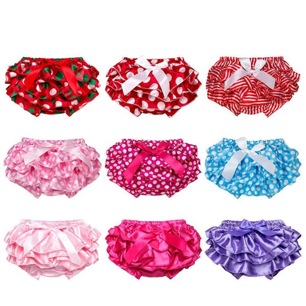 top popular Multicolor Baby bloomers Toddler infant flouncing bow dots Satin briefs bloomer PP pants underwear girls Panties kids boutique clothing 2019