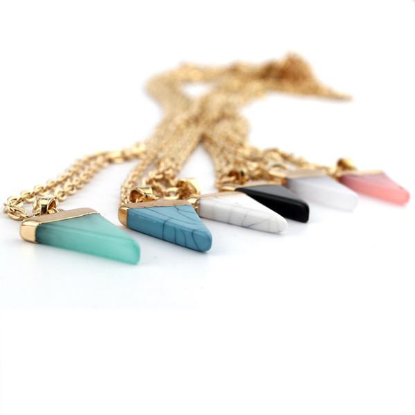 4 farben Bunte Naturstein Halskette Dreieck Kristall Halsketten Steine Anhänger Geometrische Pesionality Für Frauen