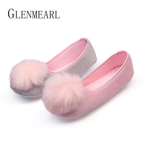 2019 Vente Chaude Femmes Chaussures D'intérieur Maison Pantoufles Printemps Automne Chaude Flanelle Douce Douce Pantoufles Confortable Appartements Enceinte