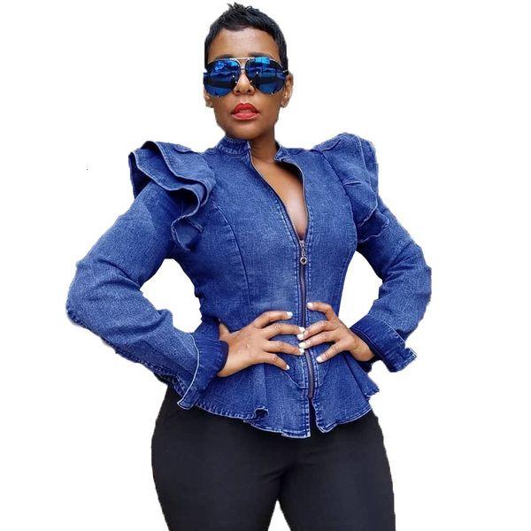 Plus Size Kurz geschnittene Jeans-Jacke Frauen Herbst Langarm mit Rüschen besetzt Zipper Vintage-Bomberjacke Kurz Blau Jeansjacke und CoatsMX190929