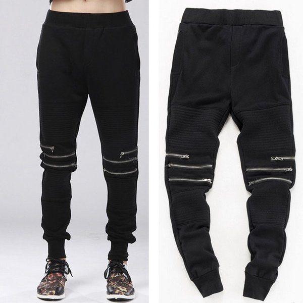 Fashion Man Harem Biker Jogger Hip Hop Pants Zipper Cool Sweatpants Kanye West Trousers Swag Urban Clothing For Men C19041201