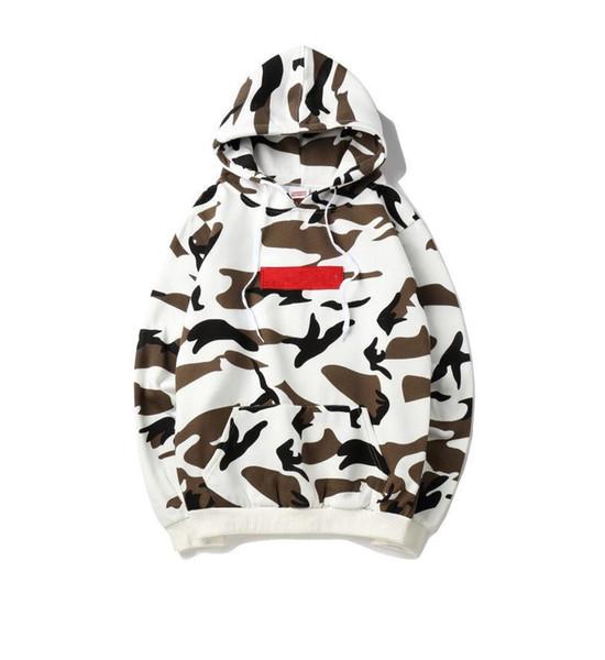 Neue beste Qualität Milch Farbe Box Logo Hoodie amerikanische Flagge Stickerei Pullover Herbst und Winter Männer und Frauen sowie Samt Kapuzenpullover