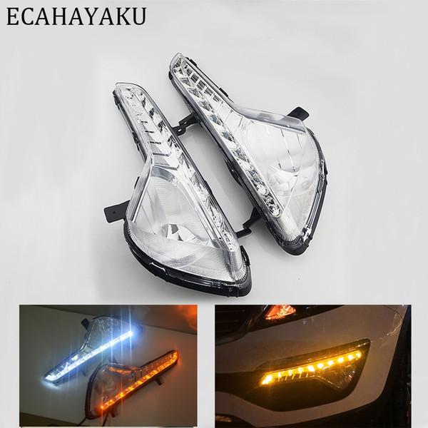 ECAHAYAKU Car Flashing 1 Pair For Kia Sportage 2011 2012 2013 2014 LED day DRL Daytime Running Lights Daylight Fog light