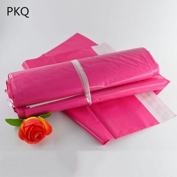 100pcs Rose rouge Poly postale Adhésif enveloppe Sacs Bolsa Emballage cadeau Sacs en plastique rose Mailer vêtements / Boîtes aux lettres
