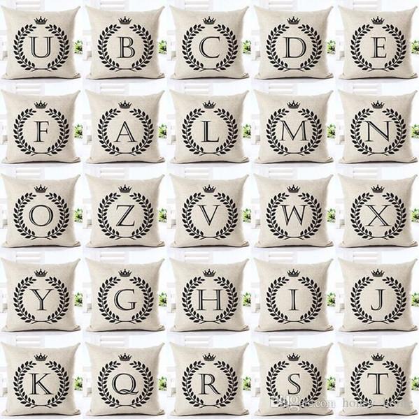 Housse de coussin en lettre anglaise sans housse de coussin décorative ABC intérieure, double face, imprimé funda cojin