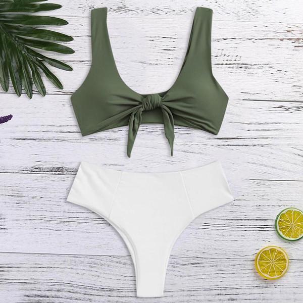 Swimwear Women White Swimming Suit For Women Solid Tankini Swimsuits Womens Sexy Swimsuit Girls Biquinis Feminino 2019 6