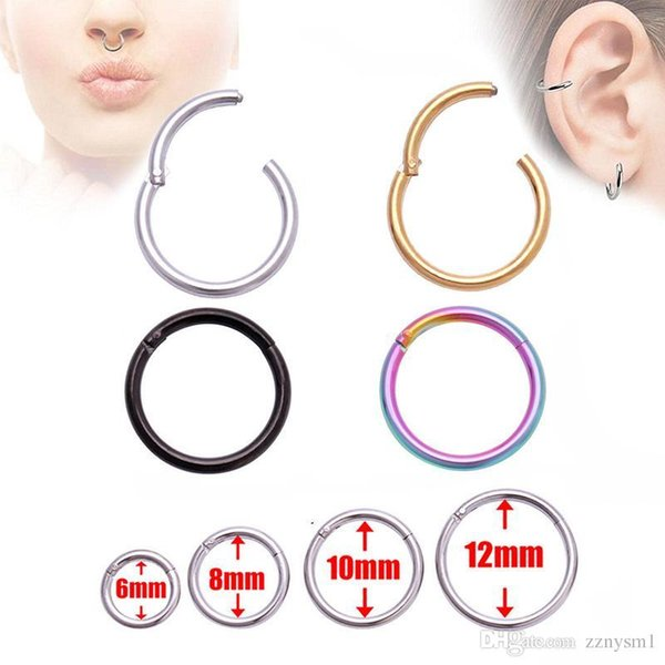 Surgical Steel Stud Earrings Septum Clicker Nose Circle Hinge Segment Ear Helix Tragus Closed Nose Nail Piercing Multiple Colour