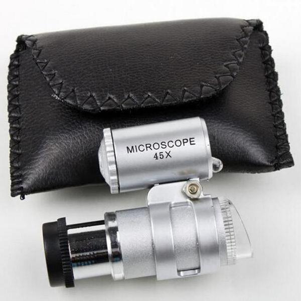 Microscopio 45X Gioielliere Lente d'ingrandimento Lenti per gioielli Mini Lenti d'ingrandimento Microscopi tascabili con luce LED + Lente d'ingrandimento custodia in pelle MG10081