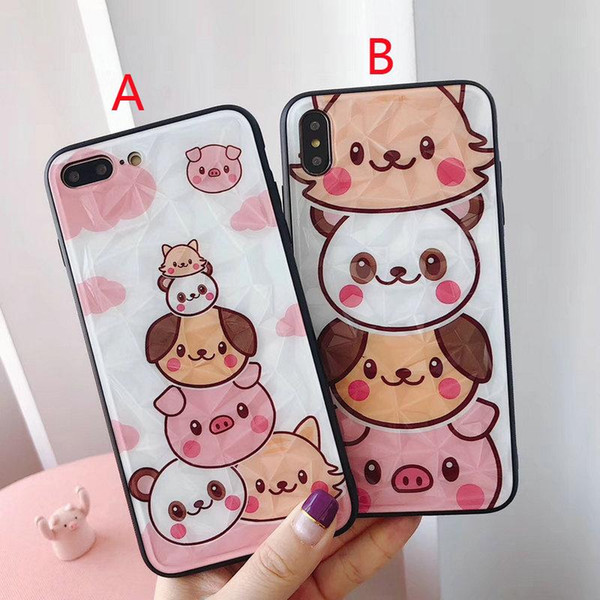 3D Diamond For iPhone X XR XS MAX Mobile Shell Cute Animal Pattern for iPhone 7plus 8plus 6plus 6 6s 7 8 Drop Protection Case Girl Gift