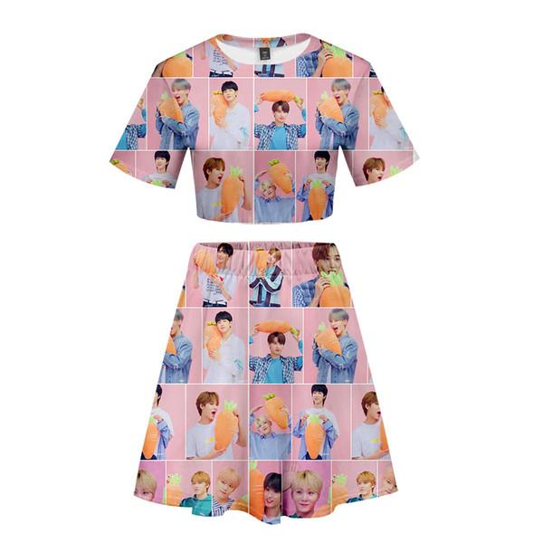 Frdun 3D seventeen Sexy Two Piece Women Sets Navel short sleeve T-shirt and Short Skirt Beautiful Fashion skirt sets