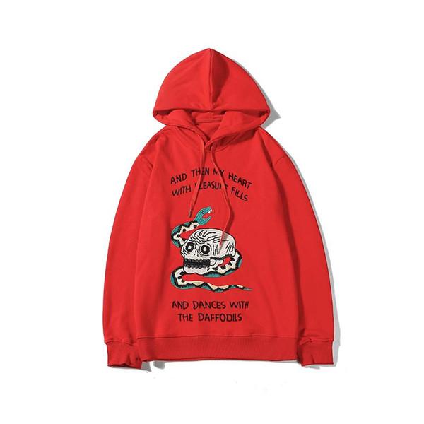 19 Negro Rojo sudaderas con capucha para mujer para hombre de Hip Hop de la serpiente gótica Imprimir capucha Sweatershirts informal suéter marca con calidad superior B101701V de lujo