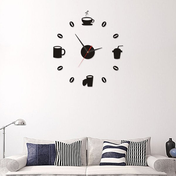 2019 Coffee Cups Kitchen Wall Art Mirror Clock Modern Design Home  Decoration Decor Wall Sticker For Living Room Wholesale Chiming Clocks  Chiming Wall ...
