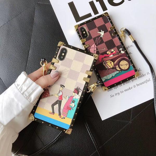 Plaid Pattern Cartone animato Stampa Cover posteriore in pelle Quadrato Lattice Checkerboard Custodia per cellulare Lanyard per iPhone XS Max XR 8 6s Samsung S10