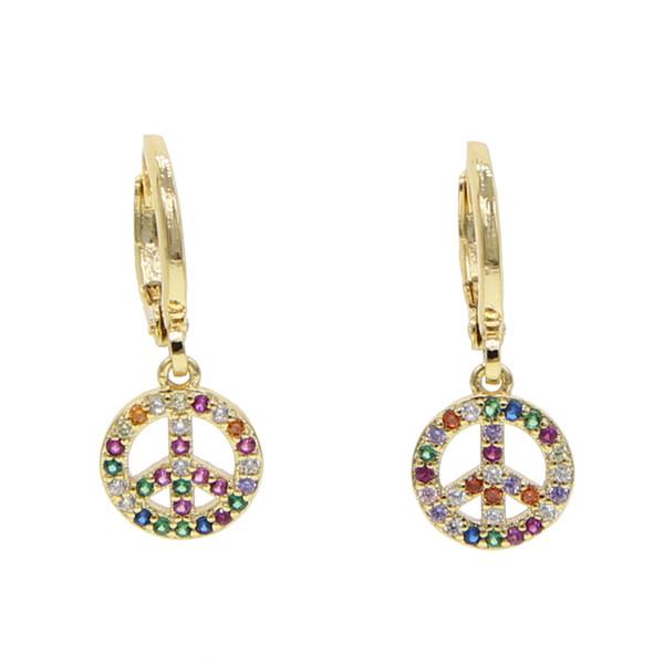 2019 Hot sale gold filled rainbow CZ Drop Women earrings Charm Vintage Peace symbols Dangle Earring Peace person Fashion Jewelry