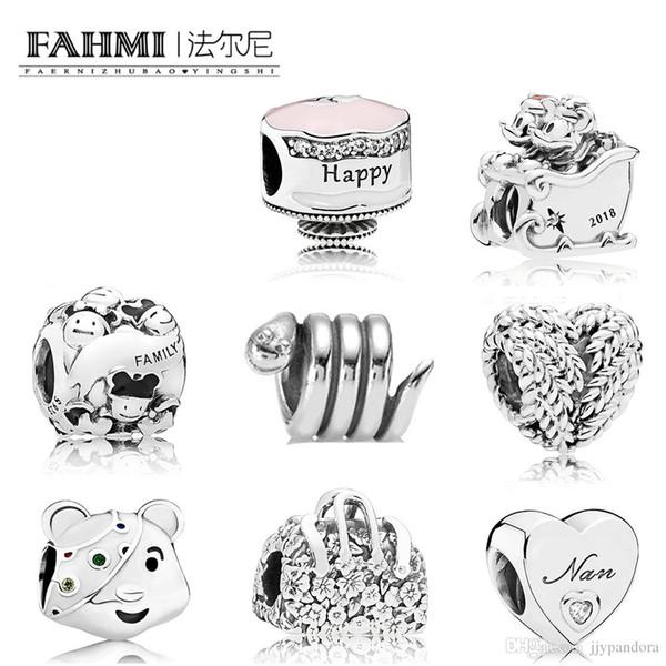 FAHMI 100% 925 Sterling Silver Snake Bear Happy Birthday Cake Charm Flower Bag Charm ICON OF NATURE HEART CHARM