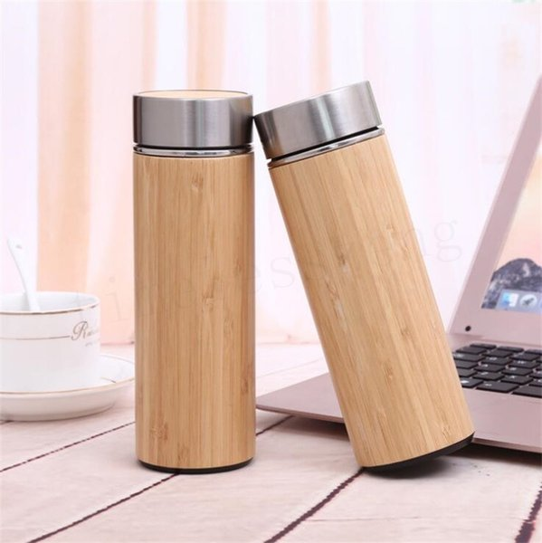 Natural Bamboo Tumbler 350ml 450ml Stainless Steel Liner Thermos Bottle Vacuum Flasks Insulated Bottles Coffee Tea Mug Bamboo Cup