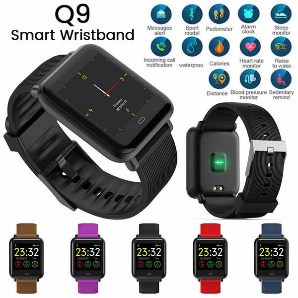 Q9 Цветной Экран Спорт Умный Браслет Bluetooth Часы Сердечного ритма Крови умный браслет Давления IP67 Водонепроницаемый Smartwatch