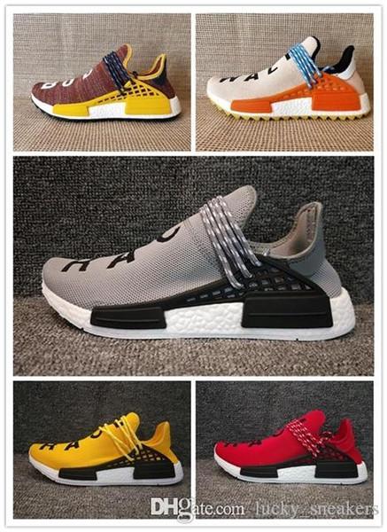 Adidas PW HUMAN RACE NMD 2019 İnsan Yarışı nd Koşu Ayakkabıları Pharrell Williams Hu iz Oreo Nobel mürekkep Siyah Nerd Tasarımcı Sneakers Erkek Kadın Spor Ayakkabı 12-2