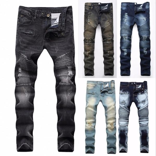 2018 Moda Hip Hop Patch Homens Retro Jeans Joelho Rap Buraco Com Zíper Motociclista Jeans Homens Soltos Magro Destruído Rasgado Rasgado Denim Homem Jeans T190913
