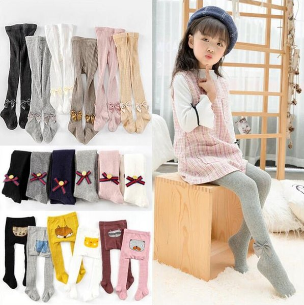 Baby Leggings Kids Designer Clothes Girls Bowknot Pantyhose Cotton Princess Tights Skinny Casual Pants Long Stockings Fashion Trousers A5512