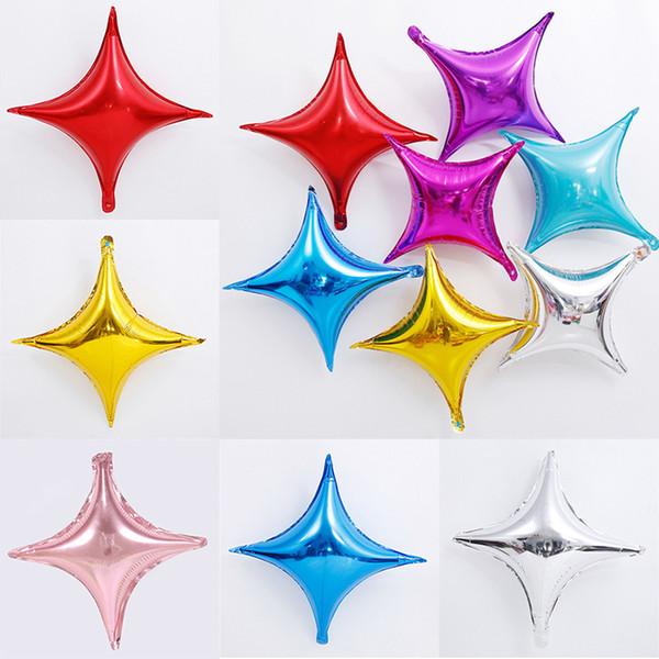 10 дюймов Четырехконечная Звезда Алюминиевая Фольга Воздушный Шар День Рождения Бокал Украшения Воздушные Шары Свадебные Принадлежности Рождество DHL WX9-1529