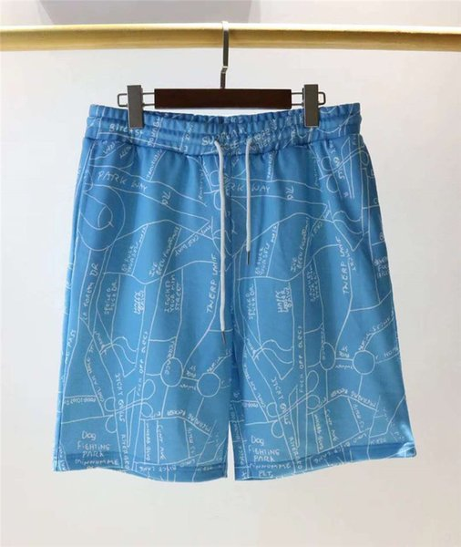 Pantalones cortos de diseñador para hombre Marca de verano Pantalones cortos de playa Marca casual Bolsillo irregular Mapa Impreso Hombres Tether Pantalones cortos Tamaño asiático M-2XL ENKK