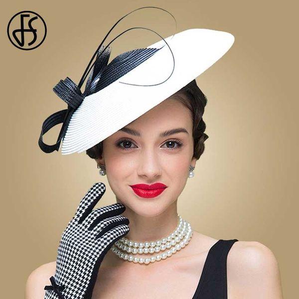 Fs Fascinators Black And White Weddings Pillbox Hat For Women Straw Fedora Vintage Ladies Church Dress Sinamay Derby Hats Y19070503