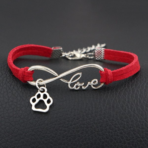 Silver Infinity Love Dog Paw Prints Charm Jewelry Pendants Red Leather Suede Mixed Color Velvet Rope Cuff Bracelets & Bangles For Women Men