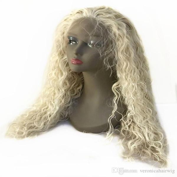 Partie Gratuite Platinum Blonde Lâche Bouclés Synthétique Perruque En Dentelle Avant Bébé Cheveux Gluelesss Résistant À La Chaleur Fibre 180% Complet Naturel Hairline Pour Les Femmes