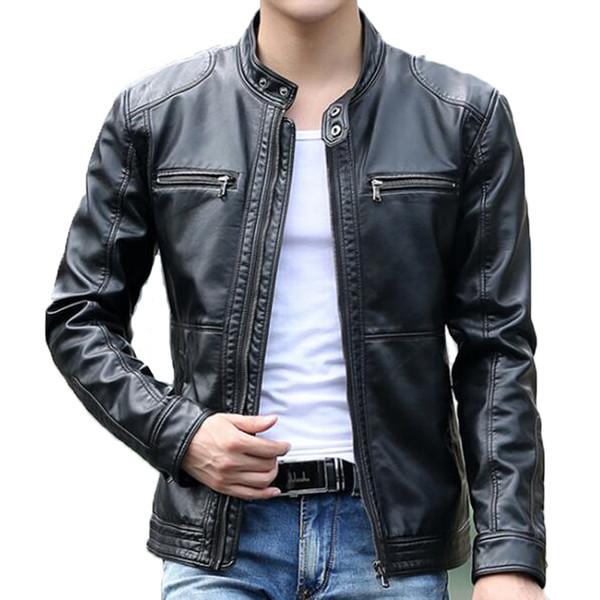 Mens Leather Jacket Design Stand Collar Coat Men Casual Motorcycle Leather Coat Mens Sheepskin Jackets Windbreaker Coats