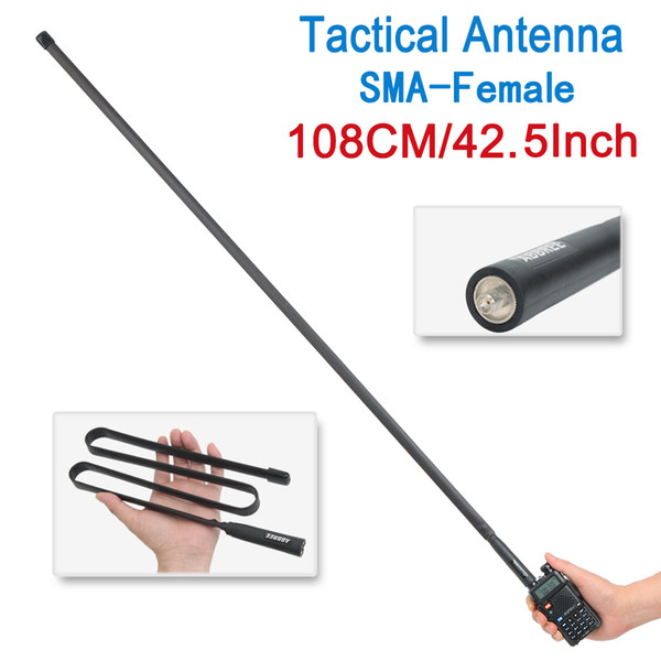 best selling ABBREE 108CM 42.5INCH SMA-Female Dual Band VHF UHF 144 430Mhz Foldable Tactical Antenna For Baofeng UV-5R UV-82 BF-888S Walkie Talkie UV 5R