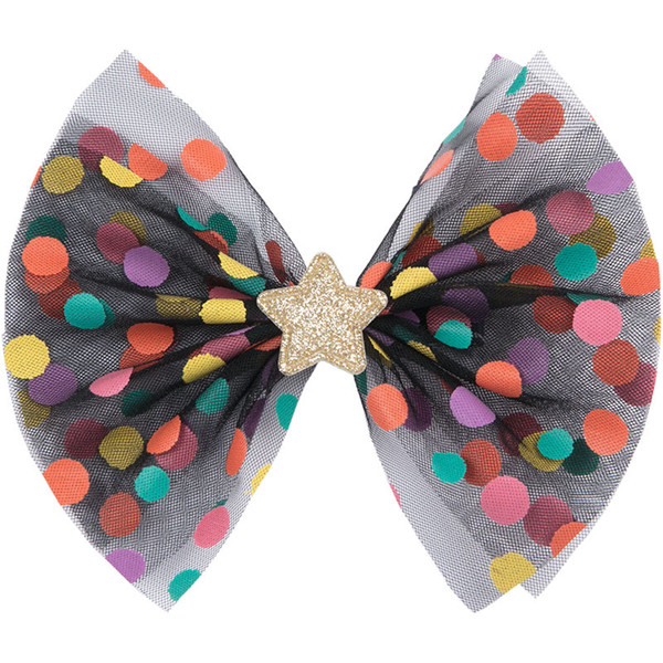 Boutique ins 10pcs Fashion Cute Glitter Star Bow Hairpins Color Dot Print Big Mesh Bowknot Hair Clips Princess Hair Accessories