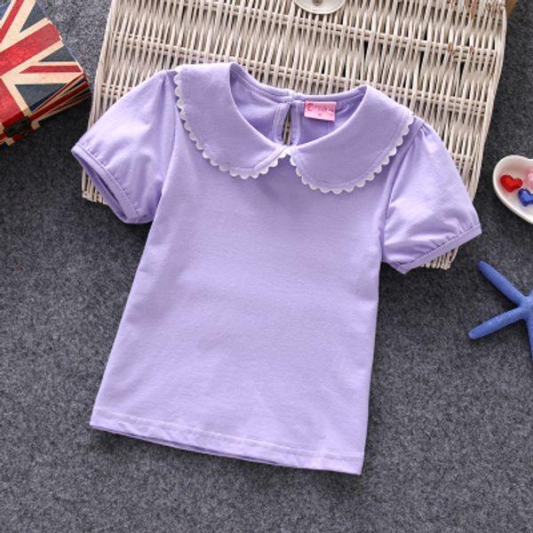 Baby Girls T-shirts 2017 100% Cotton Short-sleeve Female Children Summer Tshirt Peter Pan Collar Sweet Camisetas Kids Top Tees Y19051003