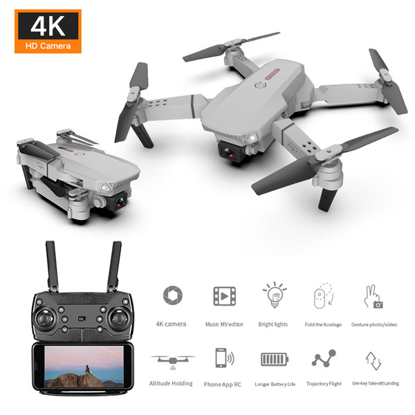 top popular 2020 New Folding Drone Air 4k 1080P 720P HD Dual Camera Wide-angle Camera Head Four-Axis Aircraft Remote Lyded Aircraft 2021