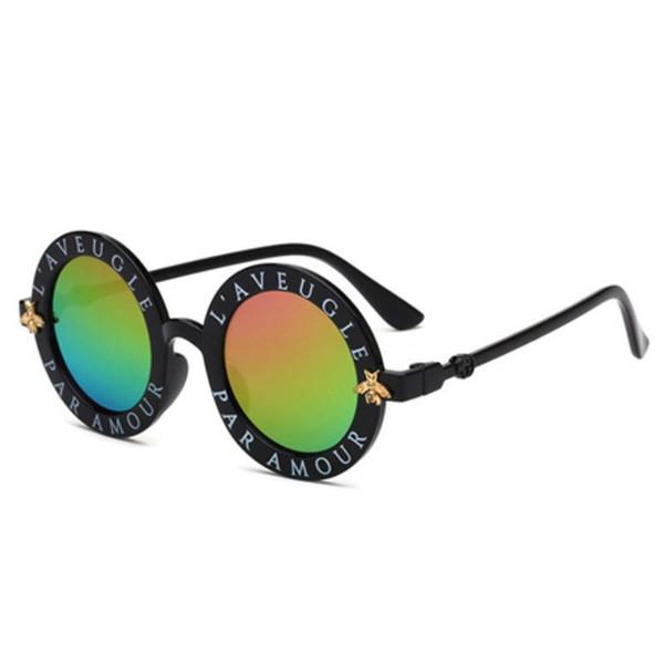 0ec78cf5c6 Children Sunglasses Cute Little Bee Steampunk Round Glasses Anti UV  Protection Eyewear Decorative Kids Summer Beach