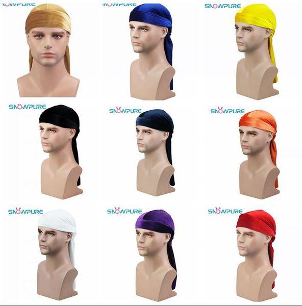 Mens Velvet Durags Bandana Turban Hat For Women Wigs Doo Men Durag Biker Headwear Headband Pirate Hat Du-RAG Hair Accessories cosplay hat